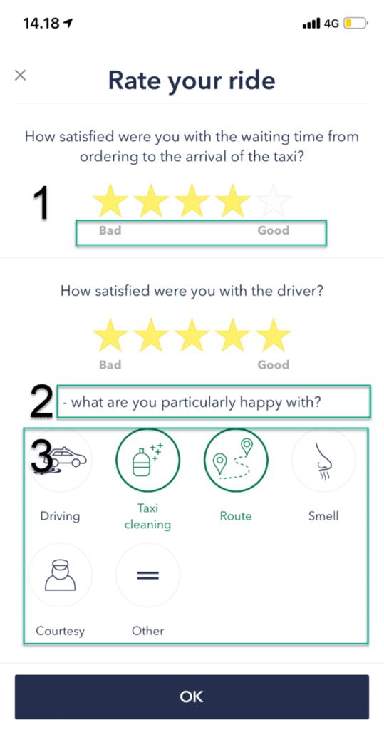 Opdatering af rating i TAXA 4x35 app'en 6
